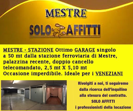 MESTRE - STAZIONE Ottimo garage singolo a 50 mt dalla stazione ferroviaria di Mestre, palazzina recente, doppio cancello telecomandato, 2,5 mt X 5,10 mt Occasione imperdibile